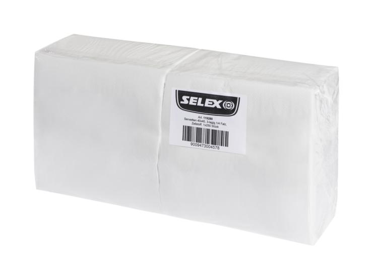 Selex Servietten 40x40 cm, 3-lagig,1/4 Falz, Zellstoff, 250 Stück
